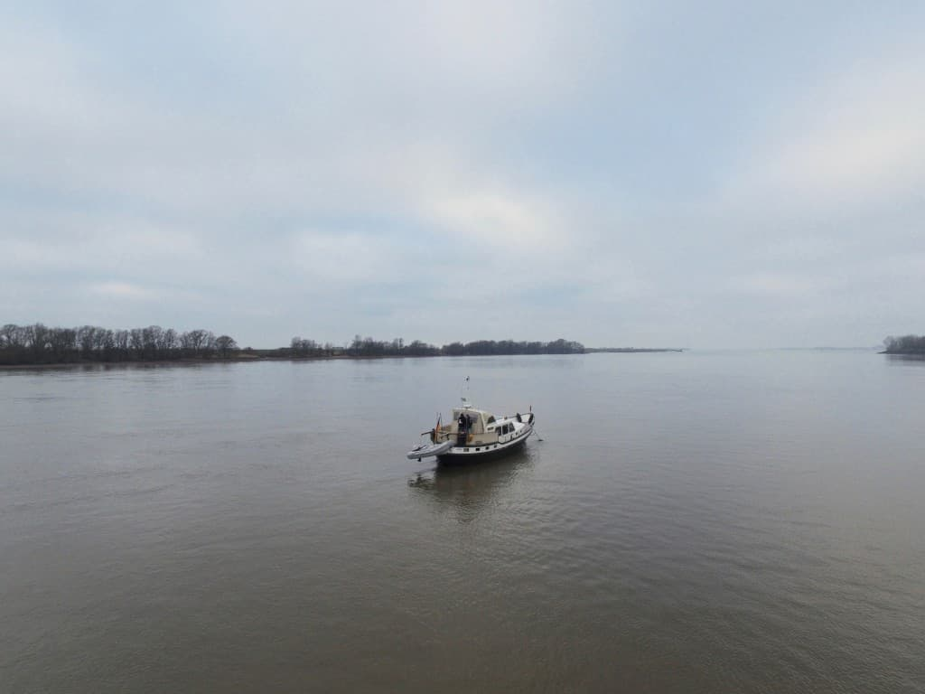 Ankern mit dem Boot im Januar 2016 hinter Schweinesand.