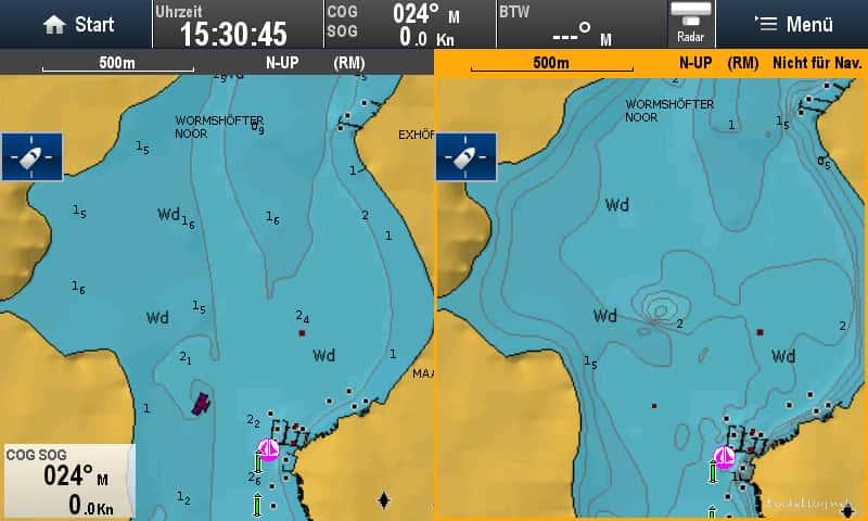 Normale Navionics Seekarte und Sonarkarte nebeneinander.