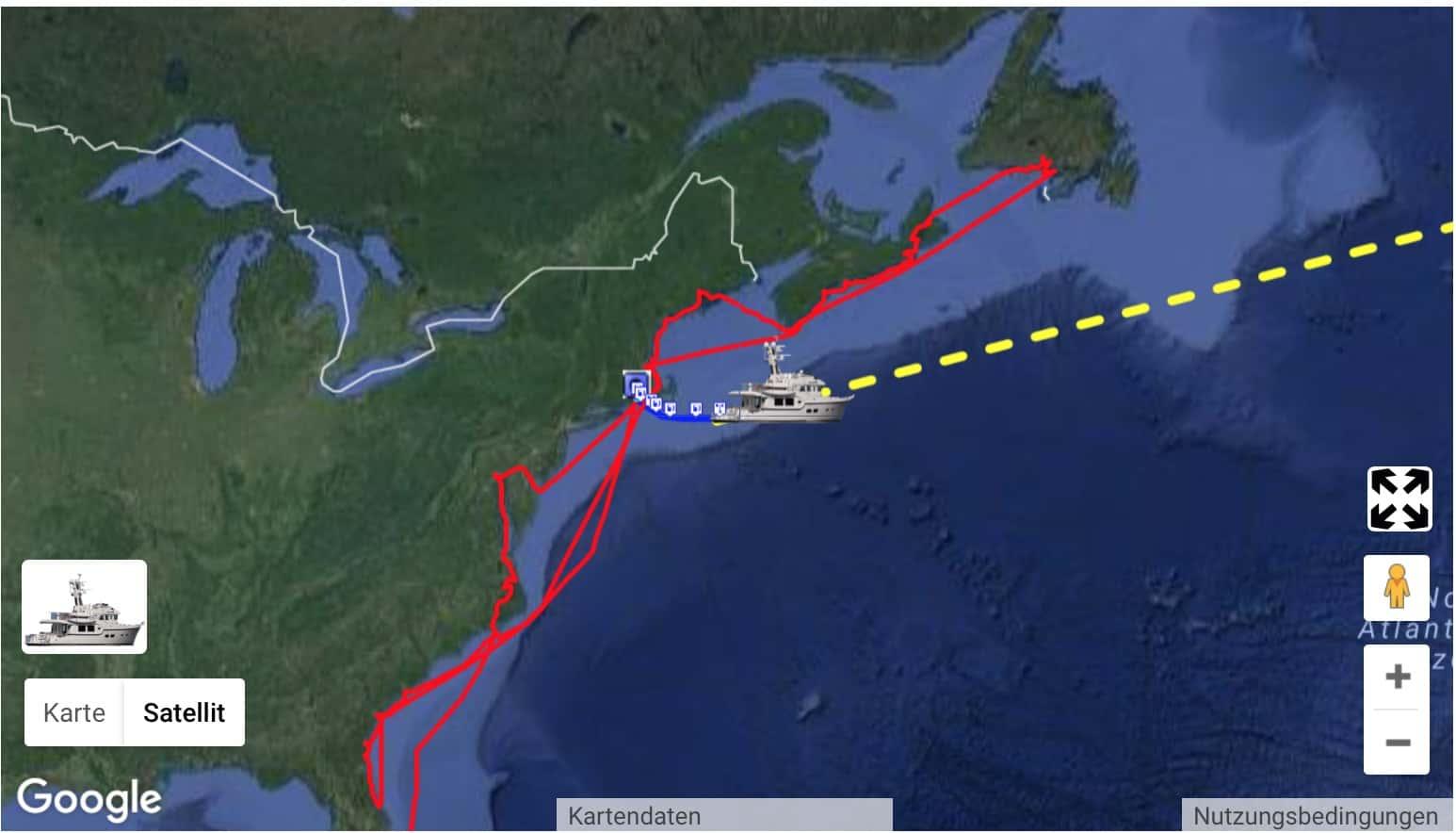 MV Dirona unterwegs über den Atlantik von Newport nach Irland.