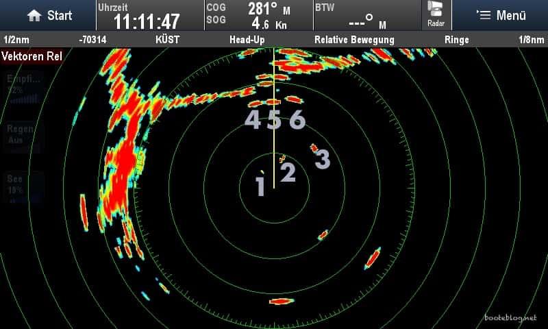 Die Echos der sechs Objekte auf dem Radar.
