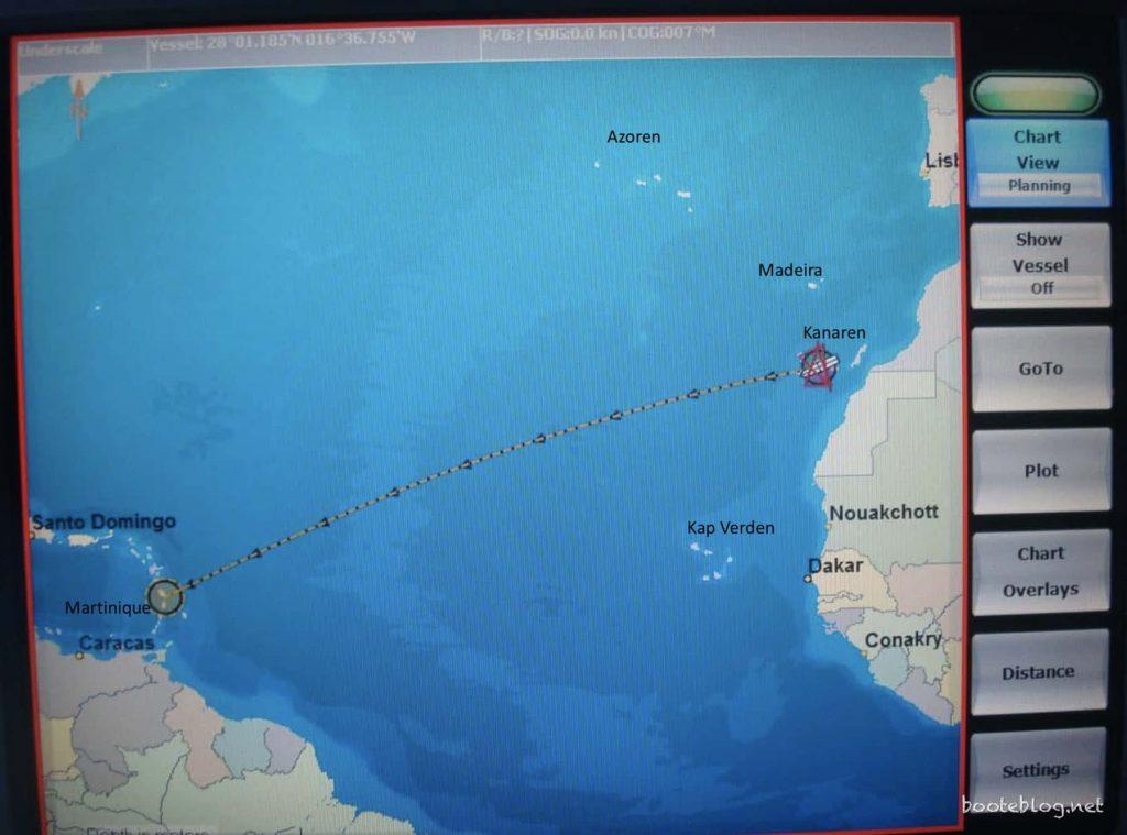 Elektronische Navigation für den Atlantik auf dem PC.