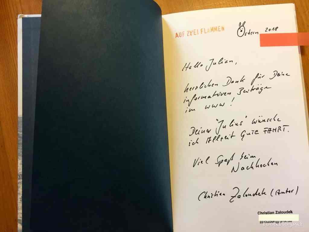 """Wieder ein tolles Dankeschön: Kochbuch """"Auf zwei Flammen"""" mit Widmung vom Autor."""