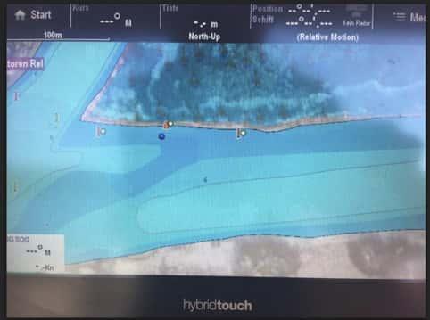 Die gefährliche Stelle in der Navionics-Karte. Die dort verzeichneten Tonnen liegen nicht aus. (Karte Stand Juli 2018).
