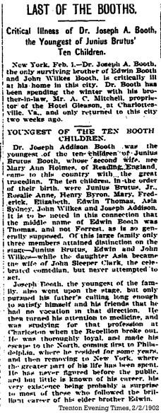 Final Illness of Joseph Booth Trenton Times, 2-2-1902