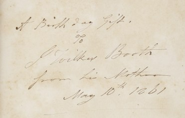 Mary Ann Booth's Gift to JWB 1861