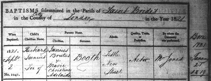 Richard Junius Booth's Baptism record