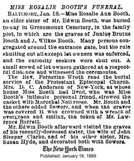 Rosalie's funeral NYT 1-19-1889