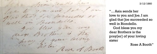 Rose's letter about Joe's perfmance with Edwin 3-12-1860