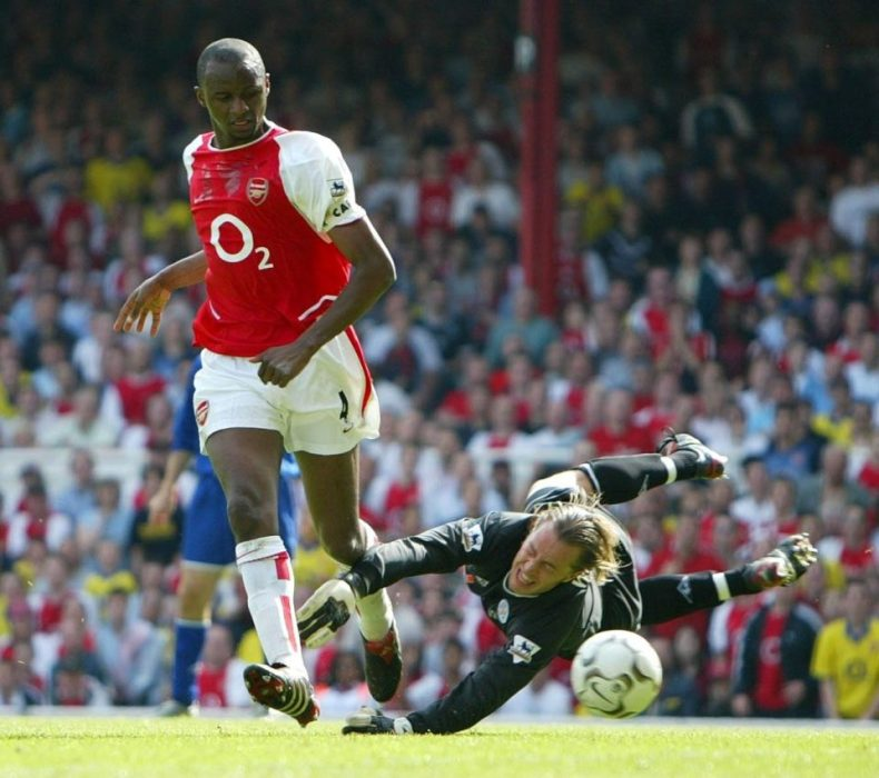 arsenal's patrick vieira scores against leicester during the invincibles season in his adidas predator pulse