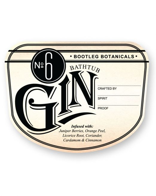Bootleg Botanicals vintage inspired Bathtub Gin No.6 Bottle Label