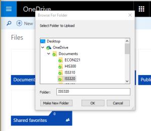 OneDrive Select Folder to Upload