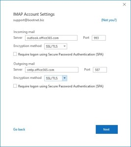 imap server settings office 365
