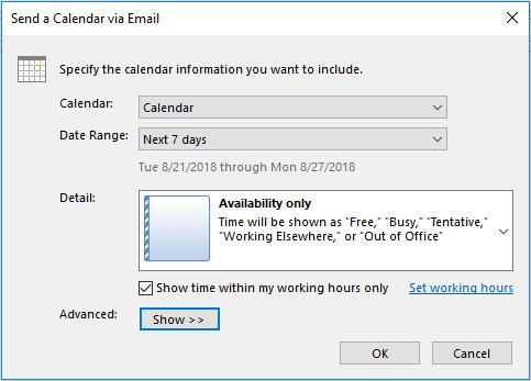 send availability outlook calendar via email