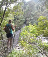 Lindsay embarking on the first river crossing of the Pinnacles Hike