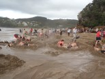 The craziness of the Hot Water Beach at low tide