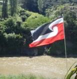 The Mauri Flag flying above the Whanganui River.