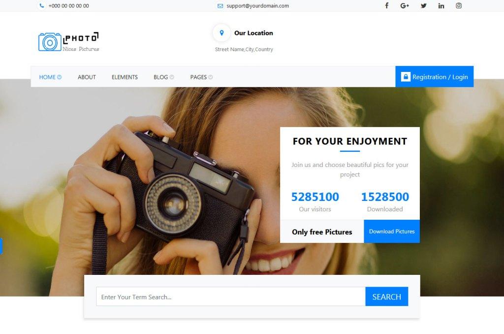 capture de la page d'accueil du thème bootstrap polyvalent gratuit photofan