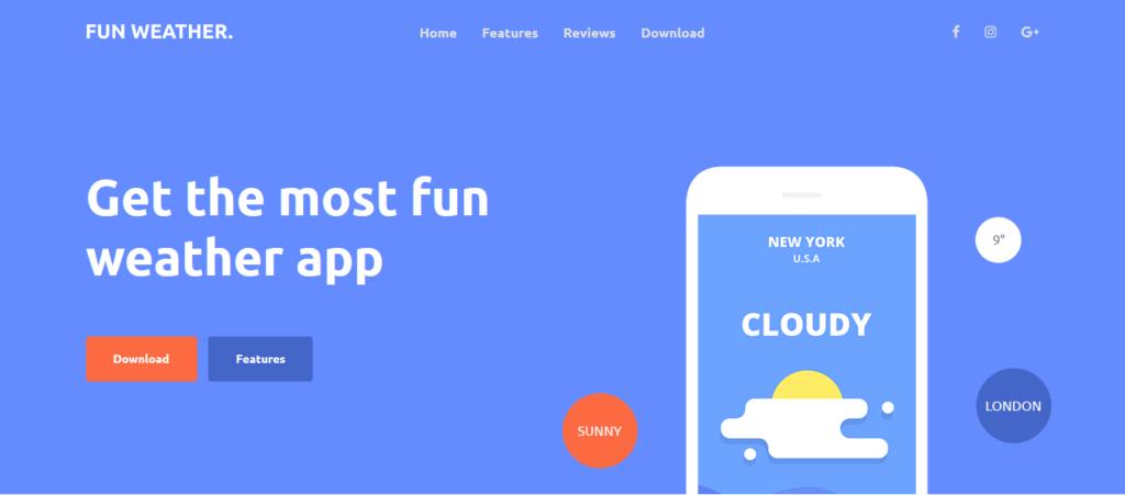 fun weather : thèmes gratuits Bootstrap pour site moderne