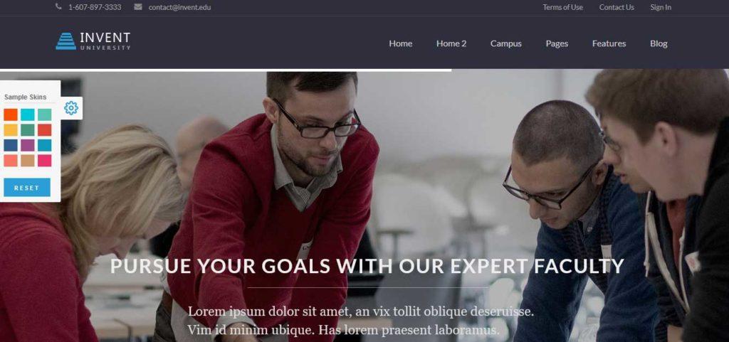 Invent: thèmes wordpress premiums pour site d'éducation