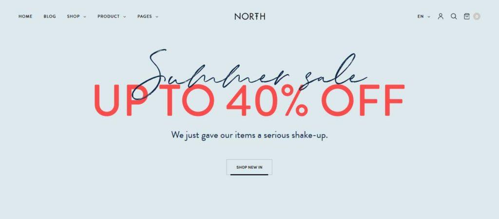 North: thèmes WooCommerce pour boutique en ligne