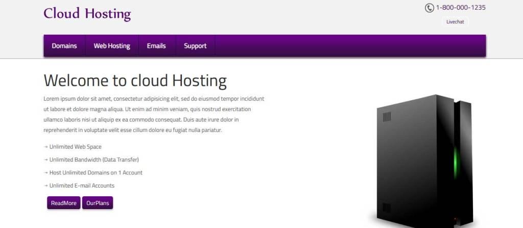 cloud-hosting : template gratuit responsive pour créer un site d'hébergement