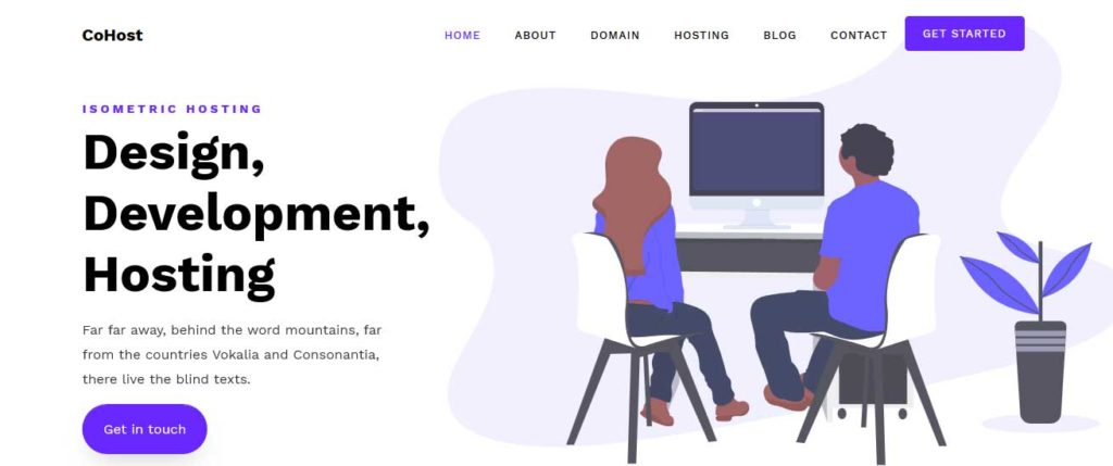 cohost : template gratuit responsive pour site d'hébergement