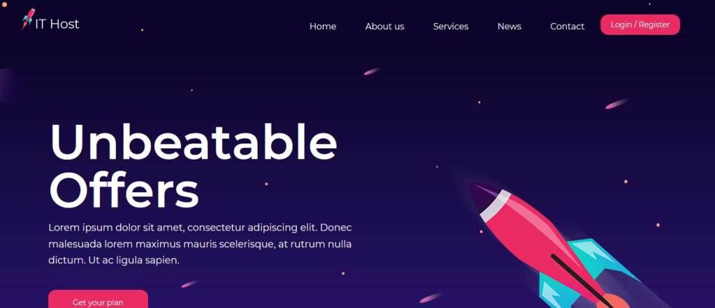 ithost : template gratuit responsive pour créer un site d'hébergement