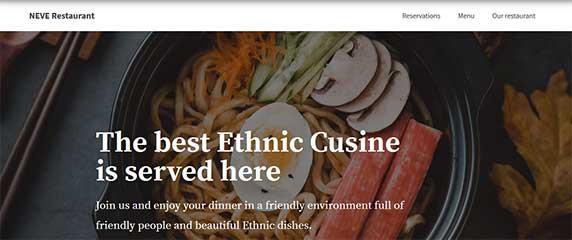 neve-restaurant : thème responsive gratuit pour site de restaurant