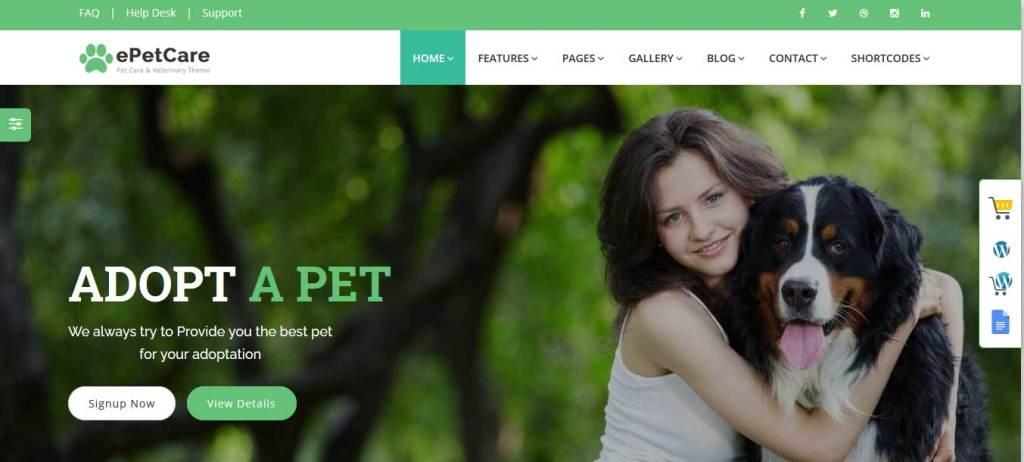 pet sitter : themes pour site d'animaux