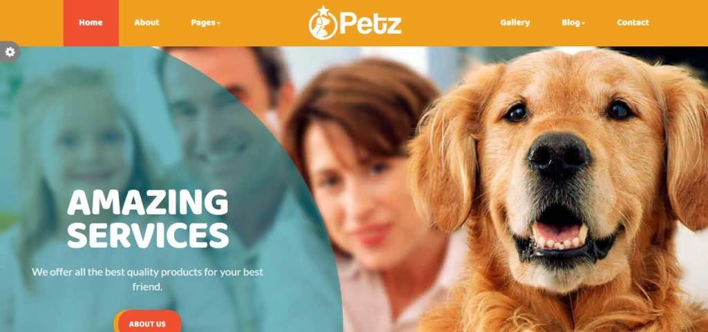 petz : themes pour site d'animaux