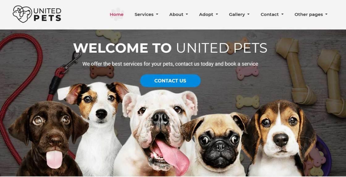 united-pets : themes pour site d'animaux