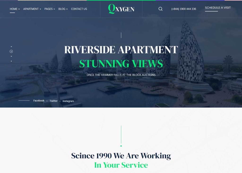 Qxygen : Thème wordpress pour site d'immobilier