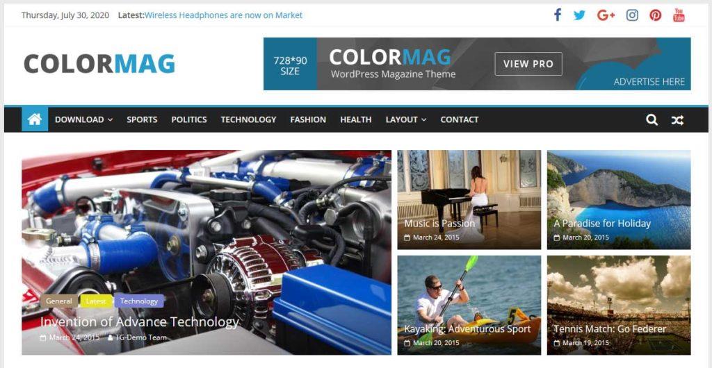 colormag : thème wordpress gratuit