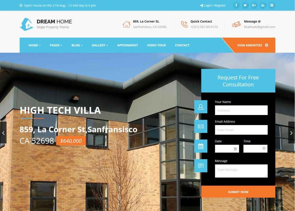 Dream Home : Thème wordpress pour site d'immobilier