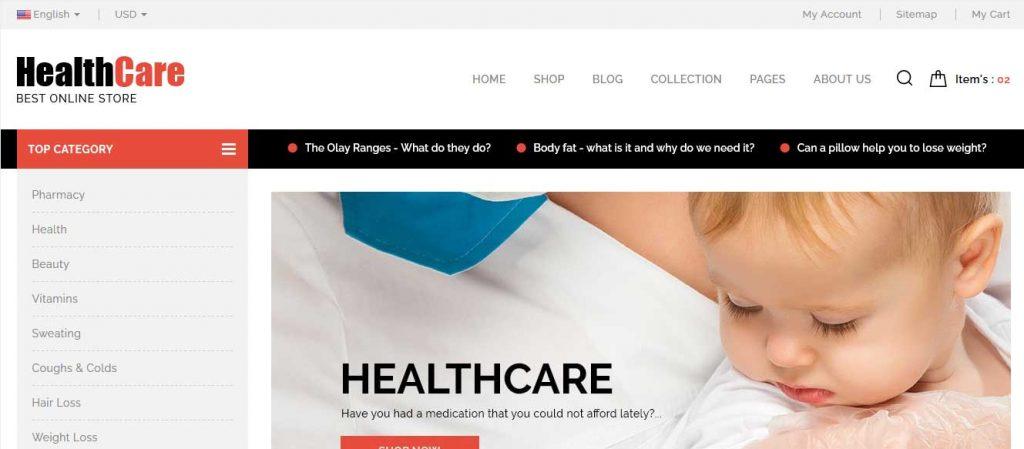 healthcare : thème pour site d'ecommerce