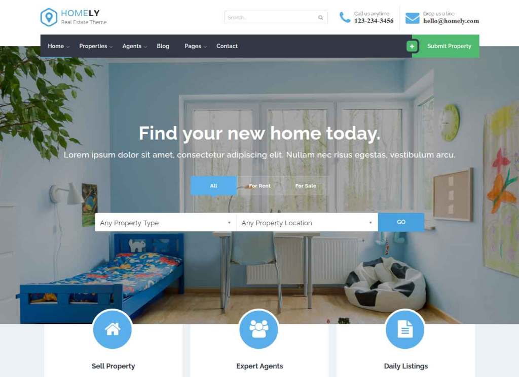 Homely : Thème wordpress pour site d'immobilier