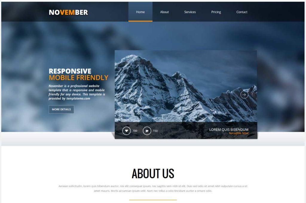 November : Thème html css responsive