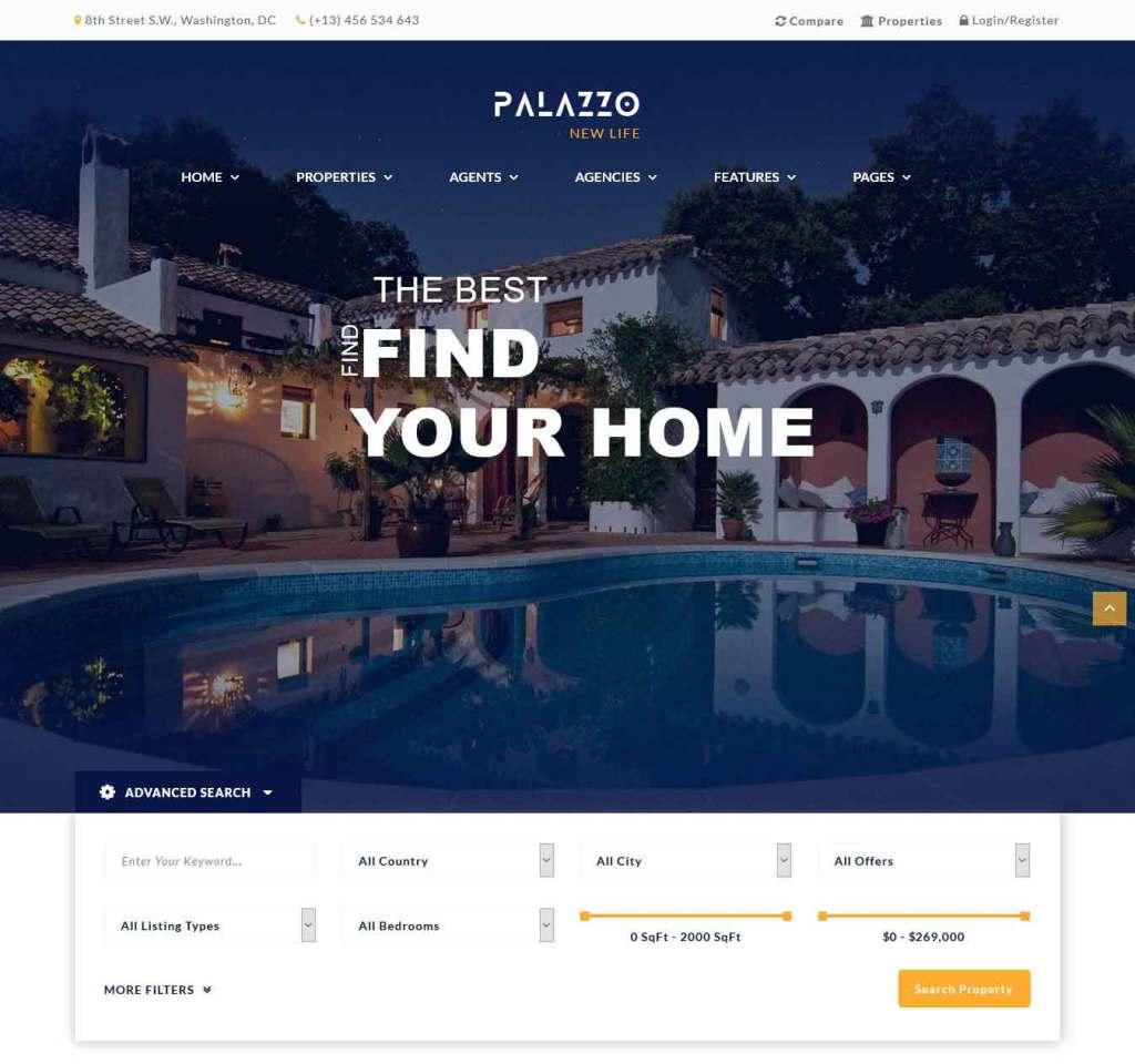 palazzo : Thème wordpress pour site d'immobilier