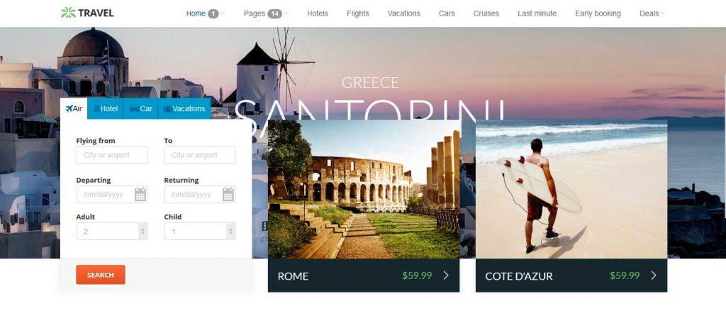 Travel : thème premium pour agence de voyage