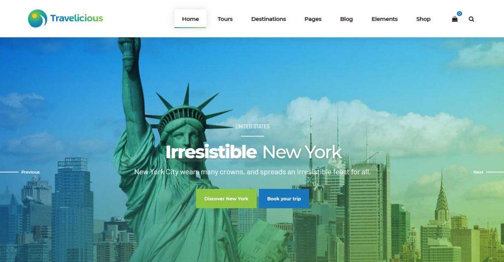 Travelicious : thème premium pour agence de voyage