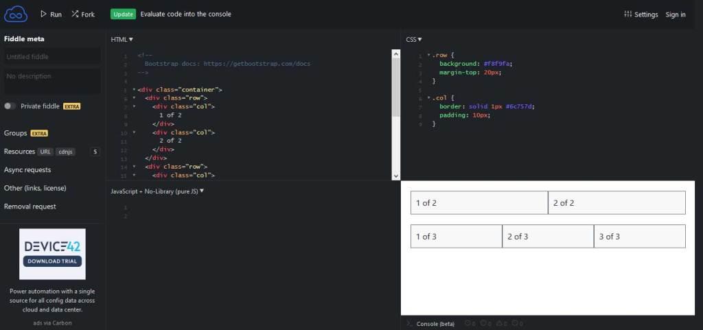 jsfiddle éditeur en ligne pour coder