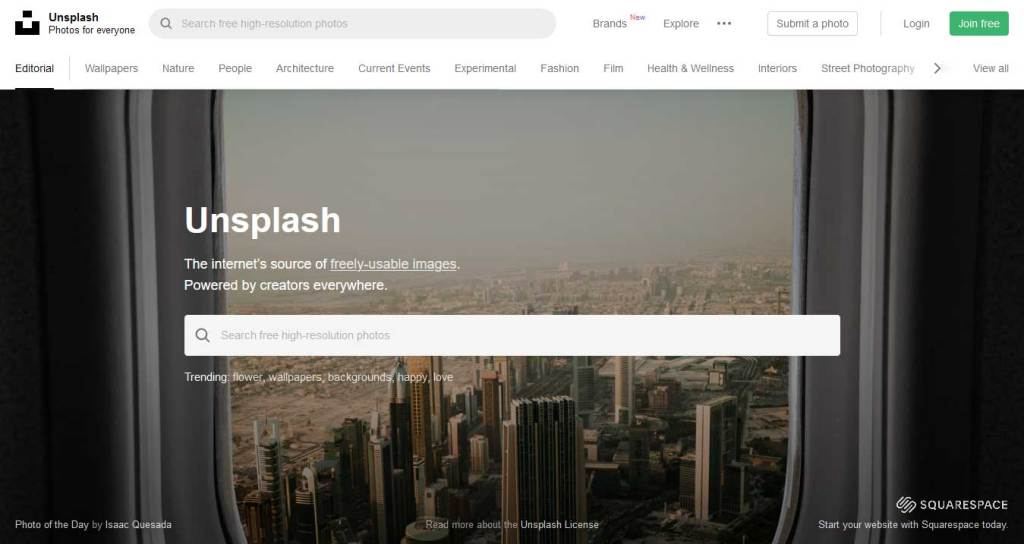 unsplash : site de photos gratuites