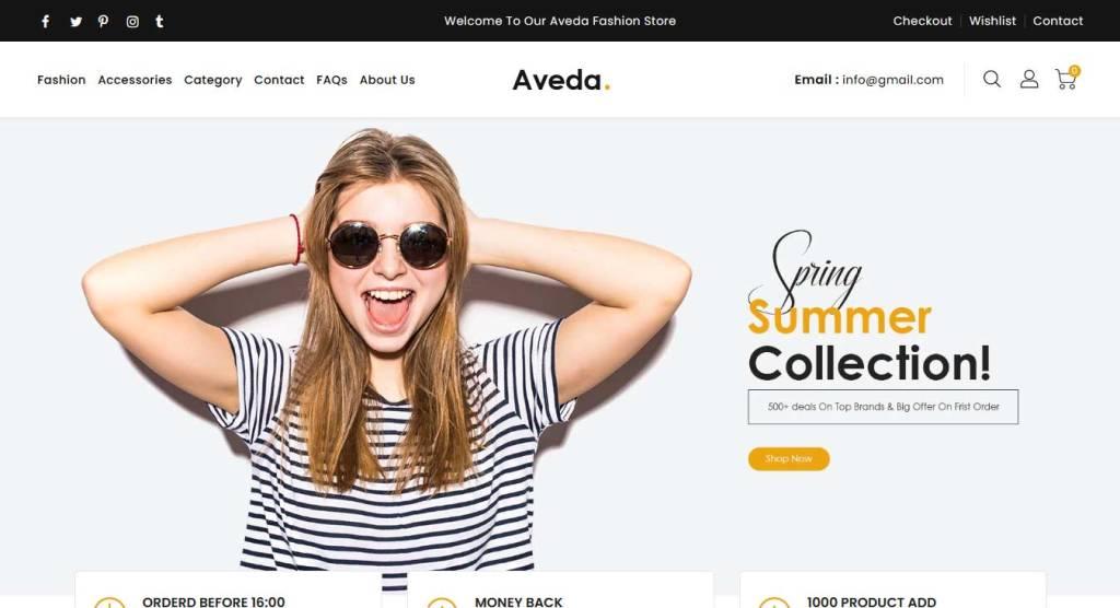 Aveda : thème shopify