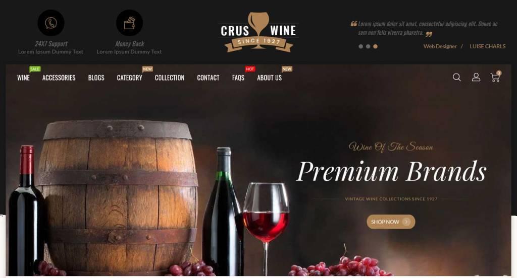 Cruswine : thème shopify