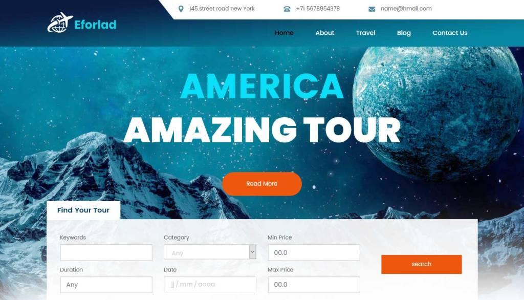 eforlad : template bootstrap agence de voyage gratuit