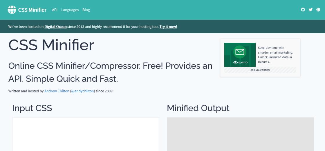 css minifier : outil de compression de code css