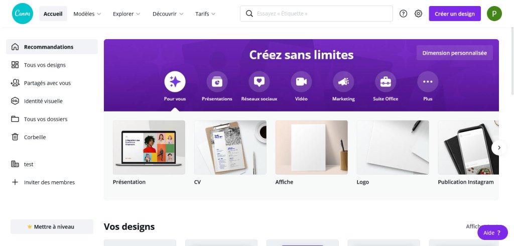 Prise en main de canva : interface d'accueil de canva