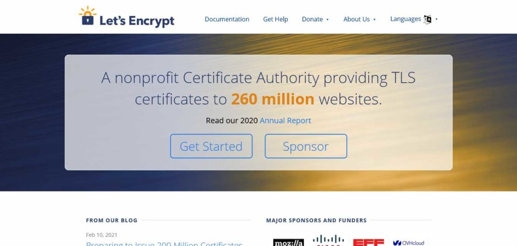 let's encrypt pourvoyeur de certificats gratuits ssl
