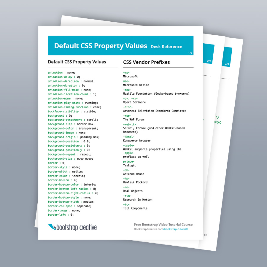 All CSS Properties List Reference PDF Cheat Sheet (Free