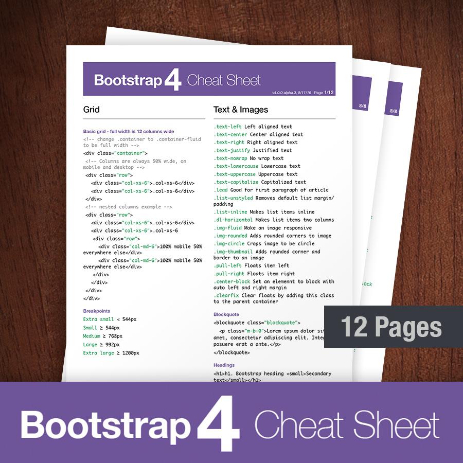 Referenzliste zu Bootstrap 4-Spickzettel und Klassen (2019)